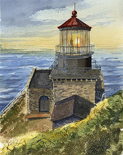Point Sur Lighthouse, California. Matted Watercolor Art Prints (8x10)
