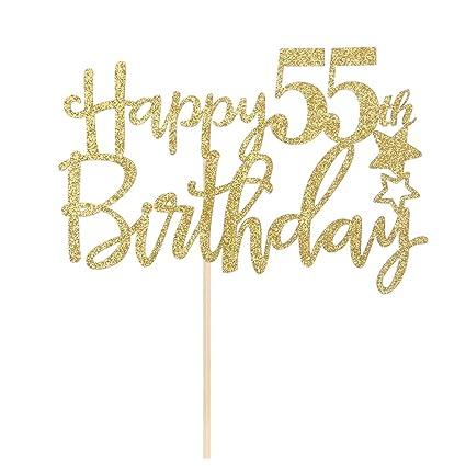 Amazon Gold Glitter Happy 55th Birthday Cake TopperHello 55