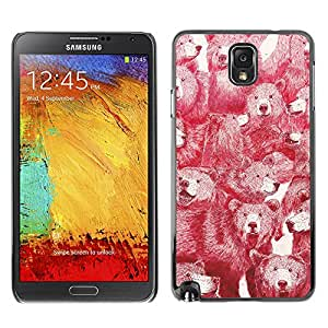 LASTONE PHONE CASE / Slim Protector Hard Shell Cover Case for Samsung Note 3 N9000 N9002 N9005 / Cool Red Bears Vignette Pattern Vintage Animal