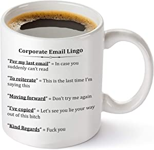 Corporate Email Lingo Funny Coffee Mug - Best Coworker Gag Gifts - 11 oz Tea Cup White