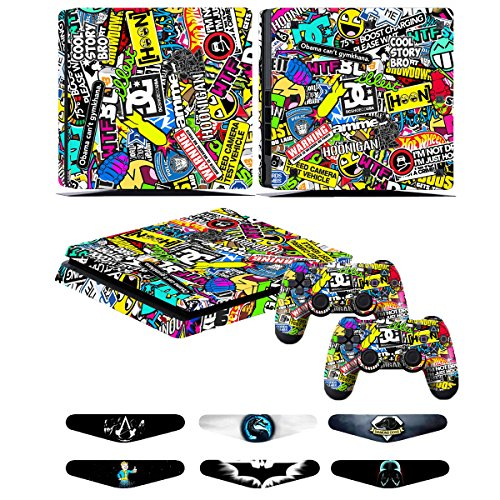PS4 Slim Controller Skins- Decals for Playstation 4 Slim Games - Stickers Cover for PS4 Slim Console Sony Playstation Four Accessories with Dualshock 4 Two Controllers Skin - Doodle