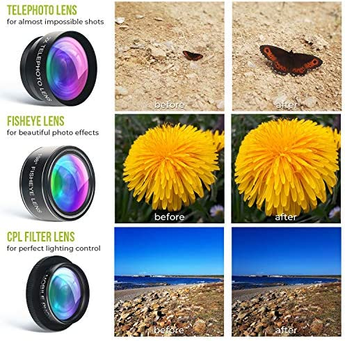 5 in 1 Phone Camera Lens Kit – Optical Glass Attachment Set – 2X Zoom Telephoto, 198 Fisheye, 0.63X Wide Angle, 15X Macro, CPL Filter with Universal Clip Adapter for Cell Phones and Tablets (Black) 61TG 0MwRRL