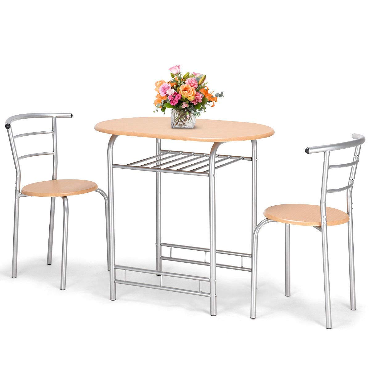 Giantex 3 PCS Bistro Dining Set Table and 2 Chairs Kitchen Furniture Pub Home Restaurant Table Chair Sets (Natural) by Giantex (Image #4)