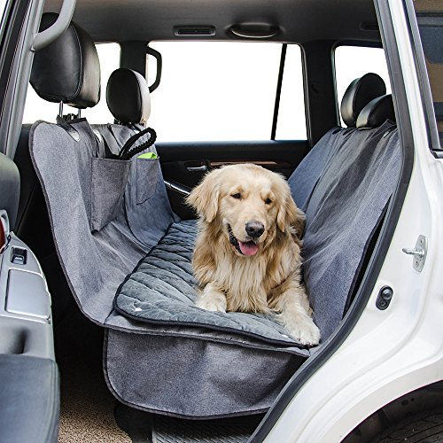 Dog Car Seat Cover with Deluxe Removable Velvet Seat Pad for Cars, Trucks, SUVs, Pet Car Seat Cover 100% Waterproof &Non-slip Backing &Hammock Convertible, 56''Wx62''L, Free Lint Roller (Deluxe Suv Cargo Liner)