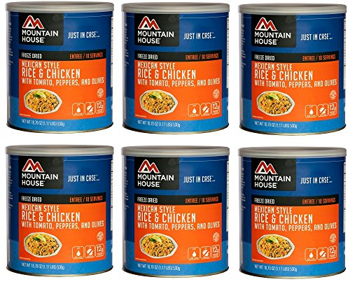 Mountain House Mexican Rice with Chicken #10 Can Freeze Dried Food - 6 Cans Per -