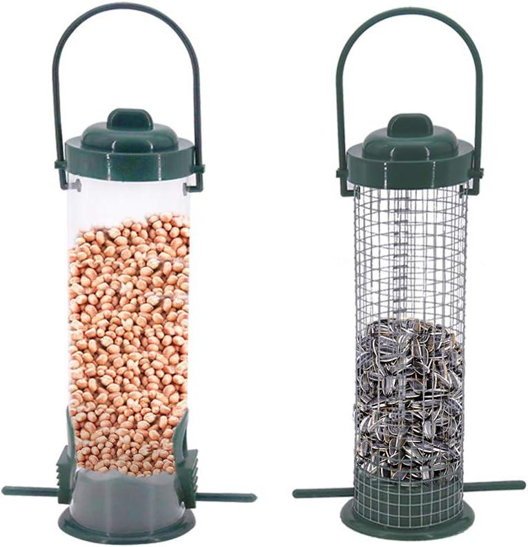 2 comederos para pájaros,semillas de pájaros,estaciones de comedero para pájaros,comedero de pájaros,para pájaros pequeños, comedero para pájaros silvestres, comedero de semillas de girasol