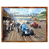 Wood-Framed Brooklands Metal Sign: Travel Decor Wall Accent for kitchen on reclaimed, rustic wood