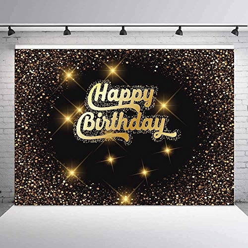 Allenjoy 7x5ft Black and Gold Happy 40th 50th 60th Birthday Backdrop Shiny Glitter Gold dot Glamour Sparkle Sweet 16th Adults Party Decorations Photography Background Photo Booth photocall