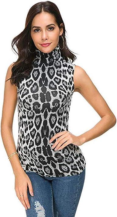 POLP Camisetas Sin Mangas Mujer Estampado de Leopardo de Cuello Alto Blusa Camisa Mallas y Bodies de Fiesta Casual Shirt tee Tank Tops S-XL: Amazon.es: Ropa y accesorios