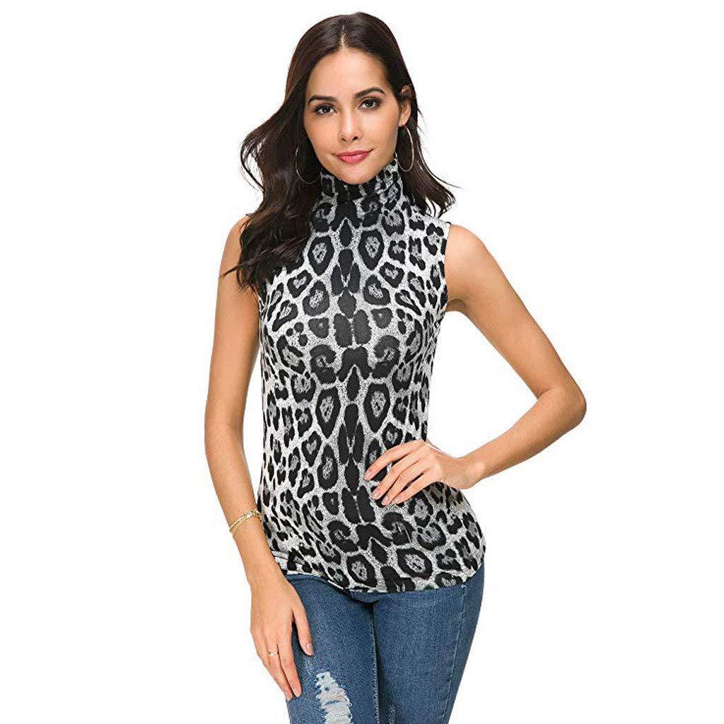 SSYUNO Womens Sleeveless Solid Slim Fit Mock Turtleneck Stretch Comfy Basic T Shirt Layer Top