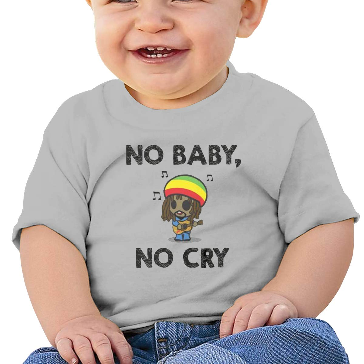 DONGLLY 6-24 Month Baby T-Shirt No Baby Bob Marley Leisure Home Gray No Cry