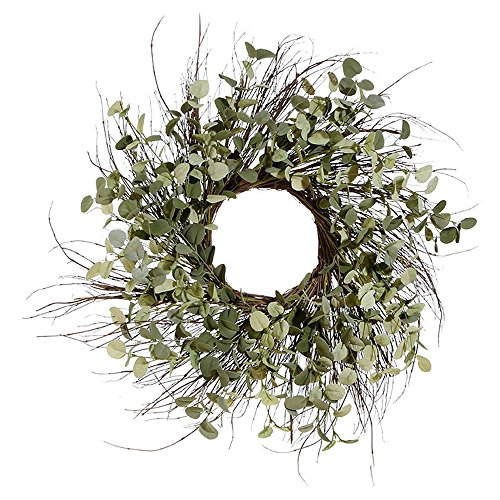 25 Inch Artificial Eucalyptus Wreath on a Natural Twig (Natural Twig Base)