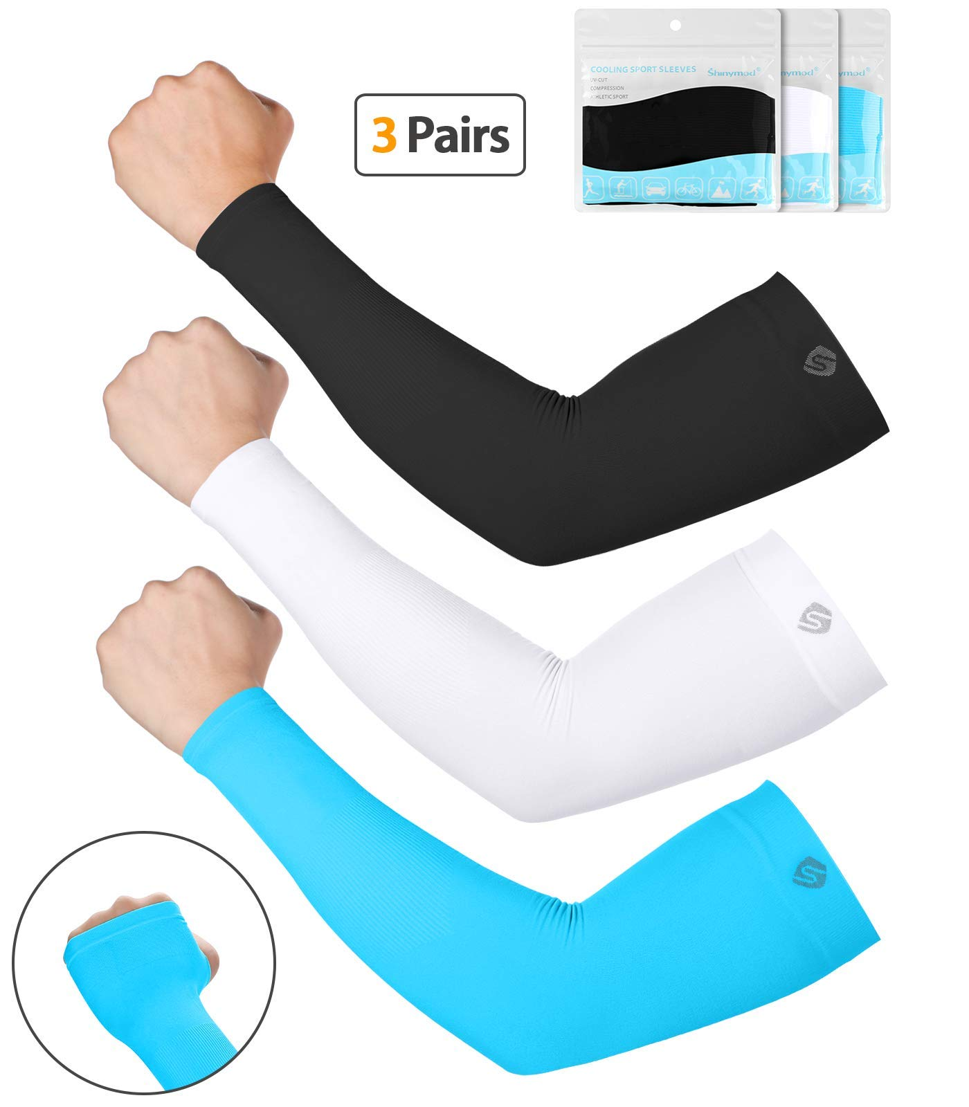 SHINYMOD UV Protection Cooling or Warmer Arm Sleeves for Men Women Kids Sunblock Protective Gloves Running Golf Cycling Driving Long Tattoo Cover Arm Warmer-Black White SkyBlue