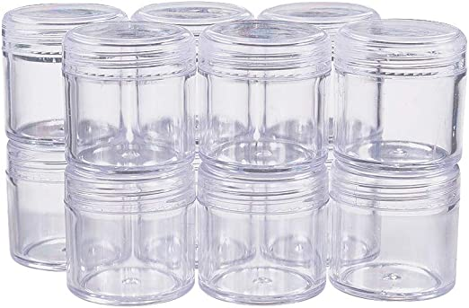 Clear Plastic Storage Box With 12 Clear Jars With Screw On Lids