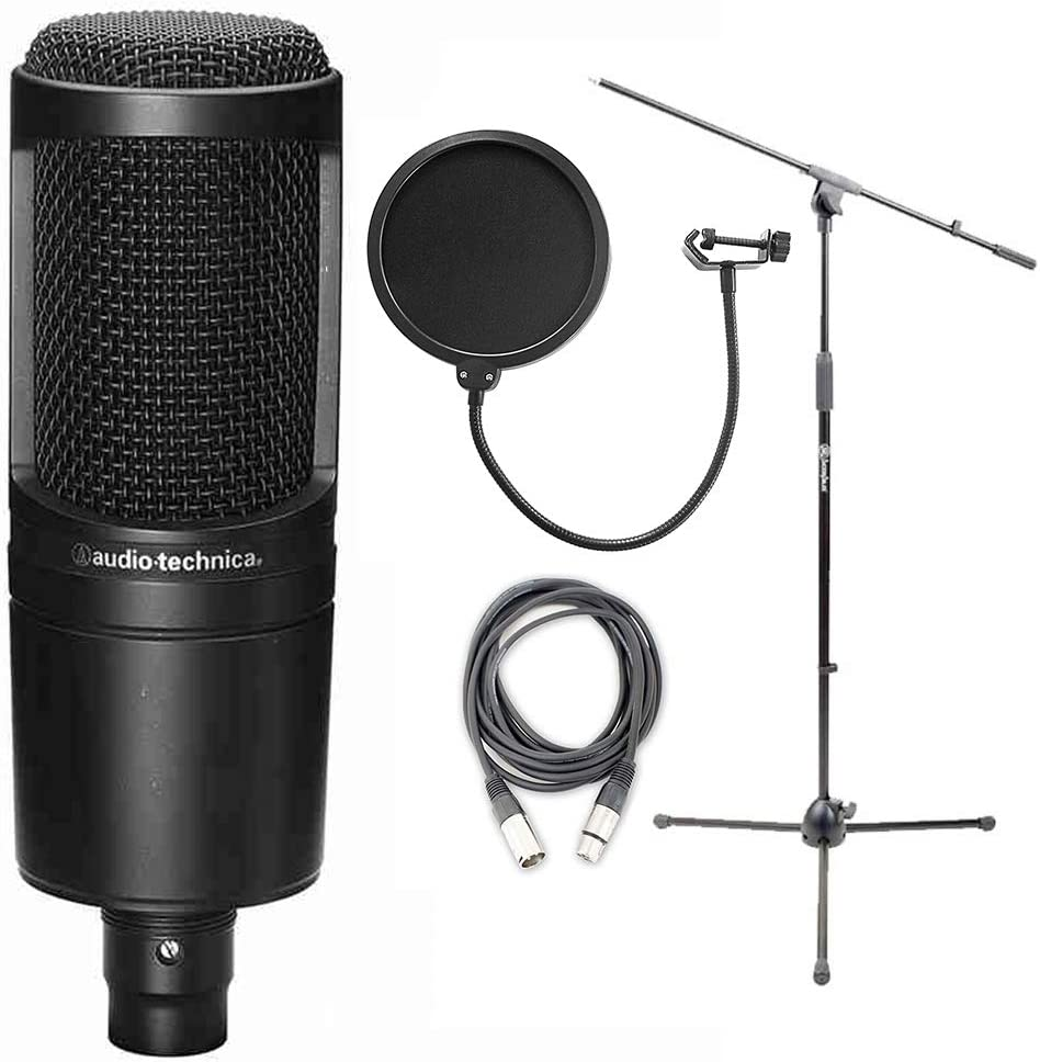 Audio Technica AT2020 Cardioid Condenser Microphone w//AxcessAbles Microphone Stand Audio Cable and Microphone Pop Filter