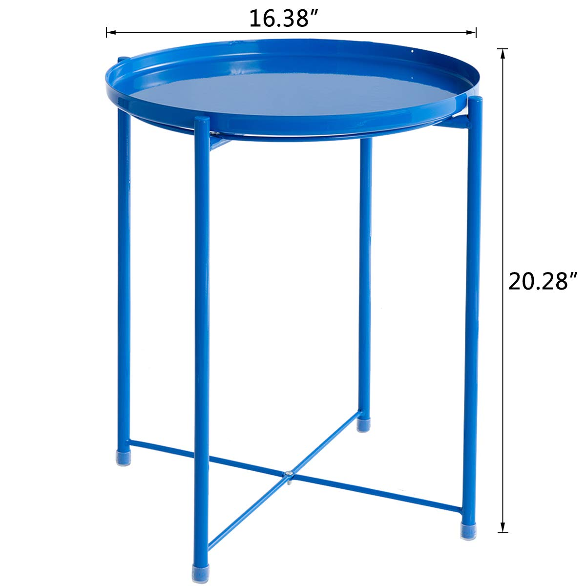 HollyHOME Tray Metal End Table, Sofa Table Small Round Side Tables, Anti-Rust and Waterproof Outdoor Indoor Snack Table, Accent Coffee Table, H 20.28 x D 16.38 , Water Bule