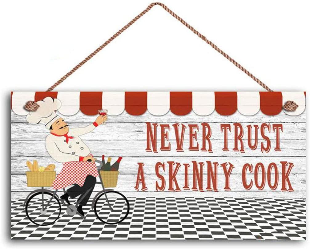 MAIYUAN Never Trust A Skinny Cook Sign, Fat Chef Sign, WC Best Chef, French Chef Cafe Sign, 6