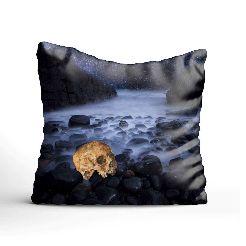 farg Halloween Skull Spa Decorative Pillowcase for Couch/Sofa/Bed 26 × 26'' Throw Pillow