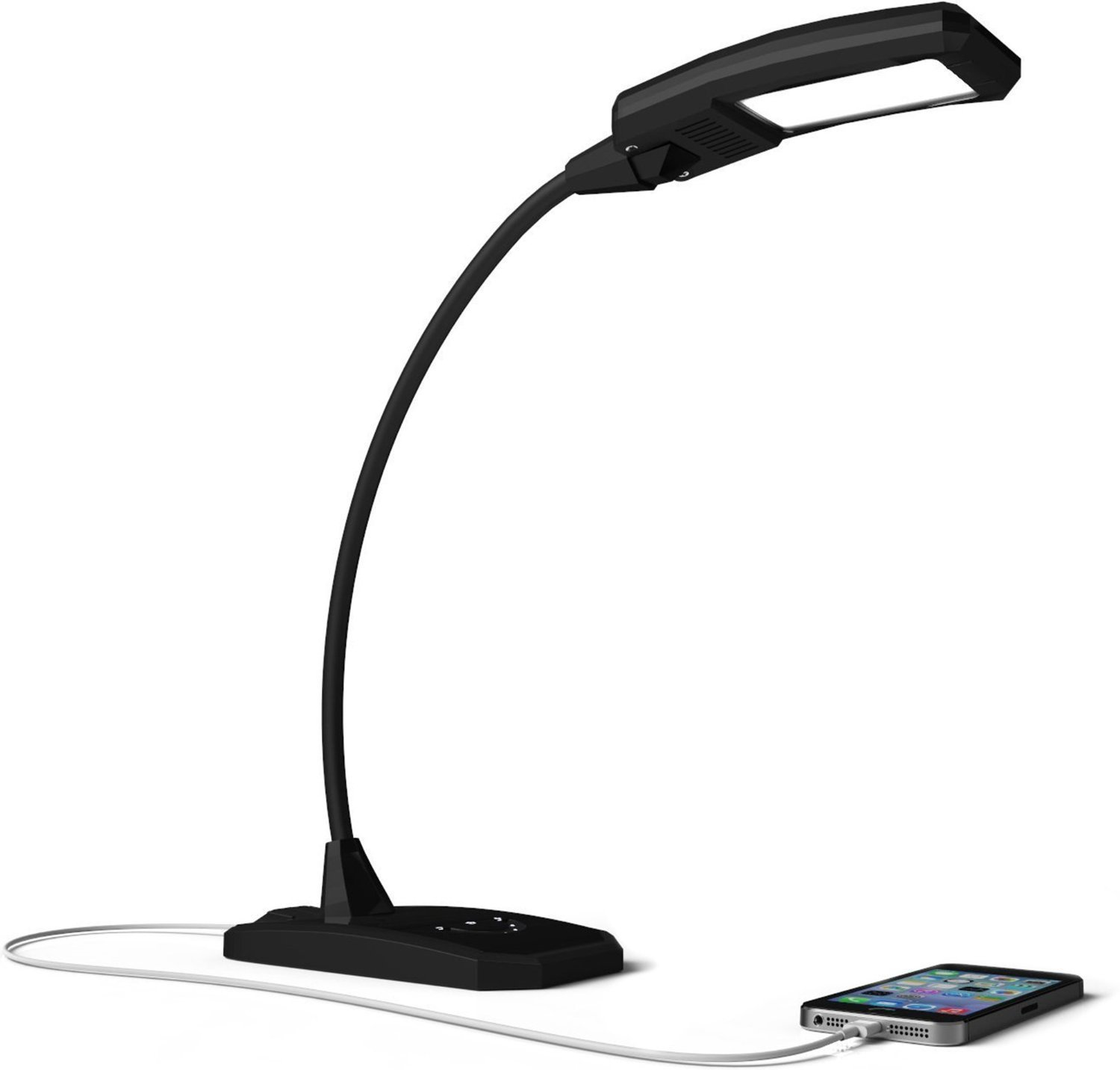 Newhouse Lighting 6W LED Desk Lamp W Dimmer And USB Charging Port Outlet Phone Tablet Charger Black