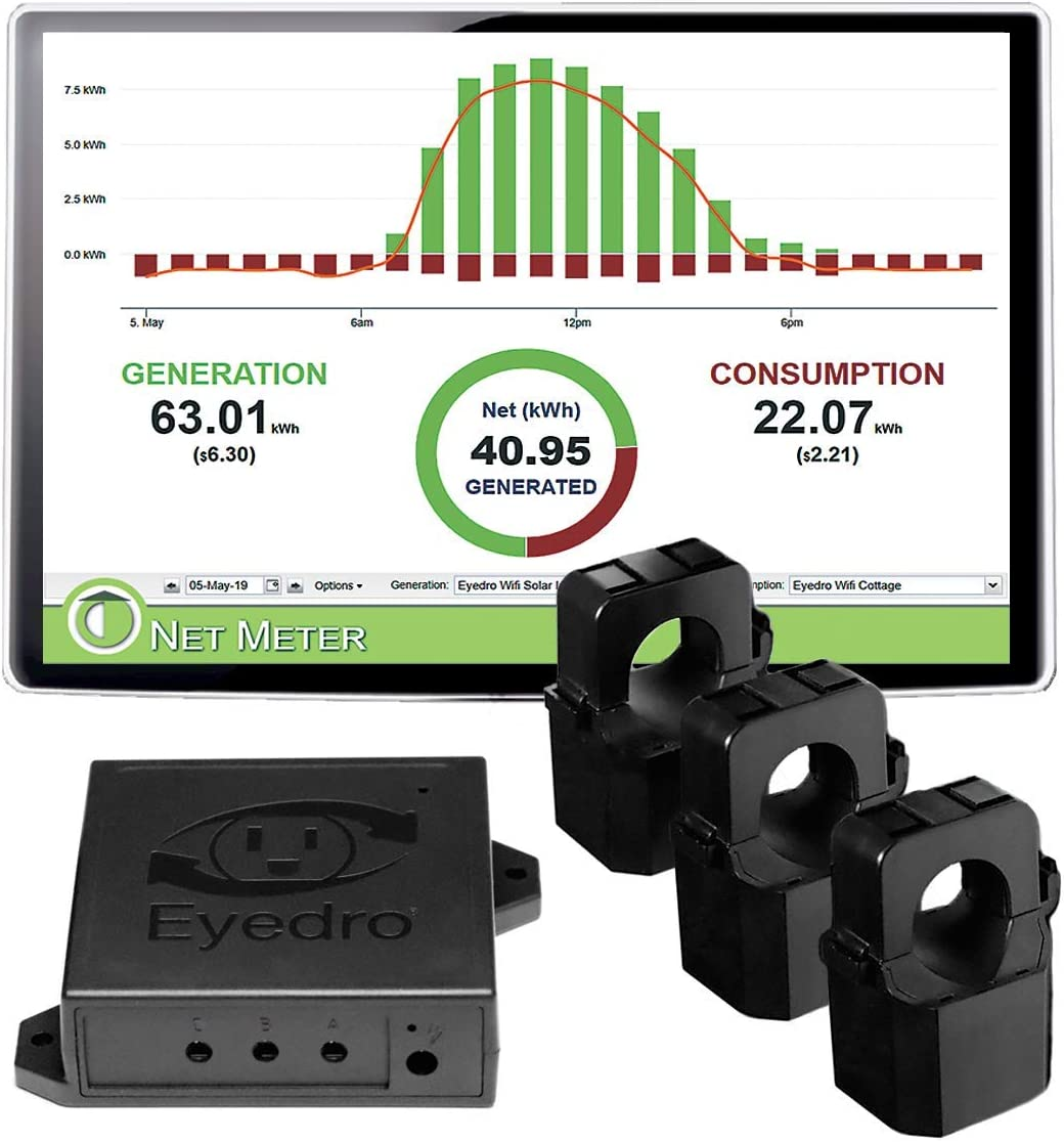 Eyedro Business 3-Phase Solar & Energy Monitor - View Your High Resolution Energy Usage in a Variety of ways via My.Eyedro.com (No Fee) - Energy Costs in Real Time - Net Metering - EYEFI-3 (WIFI)