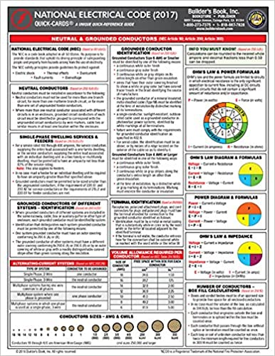 2017 National Electrical Code NEC Quick-Card: Builders Book Inc ...