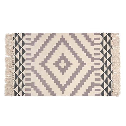 Amazon Com Kimode Moroccan Cotton Area Rug Hand Woven Cream And