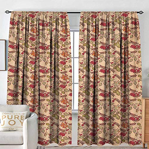 Petpany Pattern Curtains Nature,Rowan Maple Birch Oak Branches Deciduous Forest Autumn Leaf Ornament with Words,Multicolor,All Season Thermal Insulated Solid Room Drapes 100