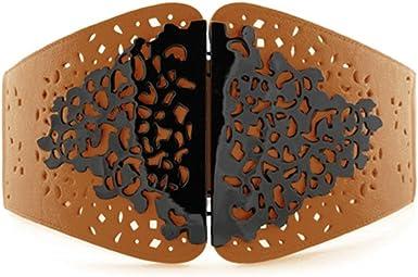 Womens Wide Waist Leather Belt with Elastic Webbing Cinch Strap Vintage Metal Buckle