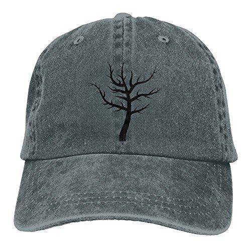 Neutral Barren Tree Silhouette 3 Hat Cotton Denim Fabric Hat Designed Cowboy Hat (Silhouette Poms)