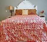 Bright Quilt Comforters Ikat College Bedding Coverlet(Red, Full/Queen)