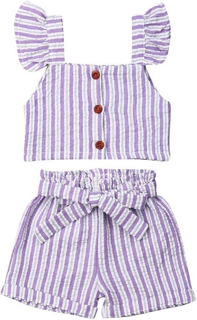 Amazon.com: Conjunto de ropa a rayas para niñas de 1 a 5 ...