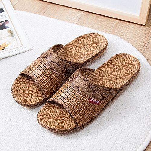 GUANG Zapatillas Zapatos 44 El Par Mujer Paja De Zapatillas Muebles Vinilo De XING De Paja De El para Hogar De Baño Madera Casa De para Hogar Antideslizante 45 para 41 40 Brown Pisos Brown vdFqwZ