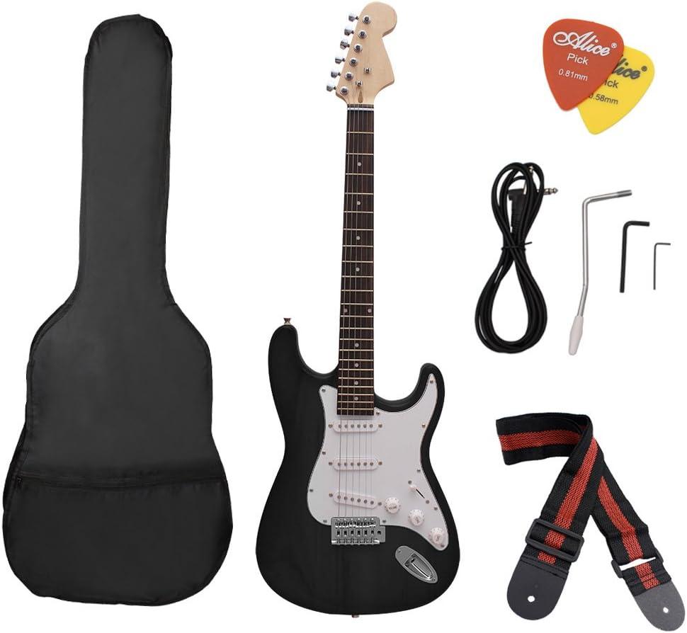 ammoon ST Guitarra Eléctrica Cuerpo de Tilo Palisandro con Estuche Recoge la Correa para el Principiante: Amazon.es: Instrumentos musicales