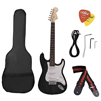 Andoer® ST Guitarra Eléctrica Cuerpo Basswood Diapasón de Rosewood con Estuche Correa: Amazon.es: Electrónica