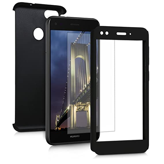 Kwmobile Cover For Huawei Y6 Pro 2017 Enjoy 7 Shockproof Protective Full Body Case With Screen Protector Metallic Black
