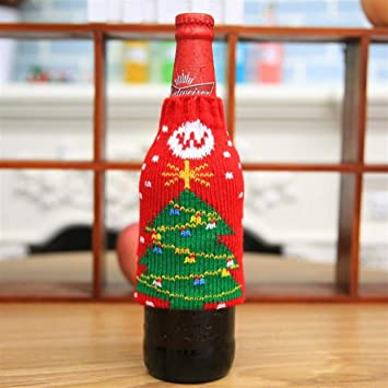 Heylookhere Party Supplies Decorations Christmas Knitted Wine Bottle Stunning Decorate Beer Bottles For Christmas