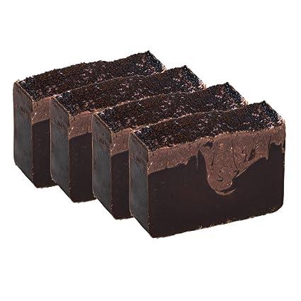 Pastilla de jabón de café con crema de vainilla (café con leche) (4 Bar Set)- Artesanal y orgánico con aceites esenciales.