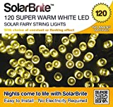Solar Brite Deluxe Solar Fairy Lights 120 Super Bright Warm White LED Decorative String, choice of light effect. Ideal for Trees, Gardens, Parties & More