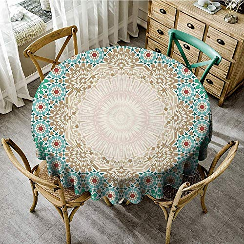 Brick Vinyl Ottoman - DONEECKL Polyester Tablecloth Moroccan Ottoman Mosaic Art Pattern with Oriental Floral Forms Antique Scroll Ceramic Boho Print Excellent Durability D39 Multi