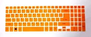"BingoBuy Semi-Orange Backlit Ultra Thin Silicone Keyboard Protector Skin Cover for Acer Aspire V5-552 V5-552G V5-552P V5-552PG V5-572P V5-573P V5-573PG V7-582P V7-582PG series(if your ""enter"" key looks like ""7"", our skin can't fit) with BingoBuy Card Case for Credit, Bank, ID Card"
