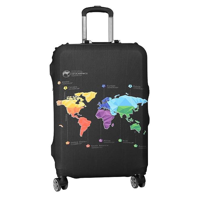 ASIV Cubierta de protector equipaje con cremallera, Funda maleta suave elástico de anti-polvo (Mapa de viajes): Amazon.es: Hogar