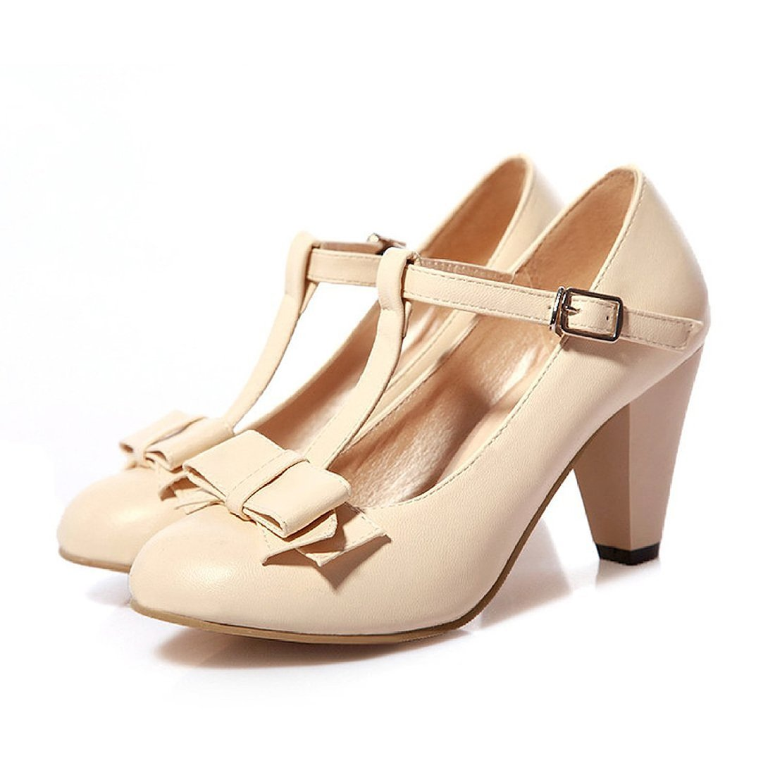 01e586353d5 Susanny Women's Chic Sweet Round Toe T-Strap Bows Adorable Buckle High Cone  Heel Mary Janes Dress Pumps