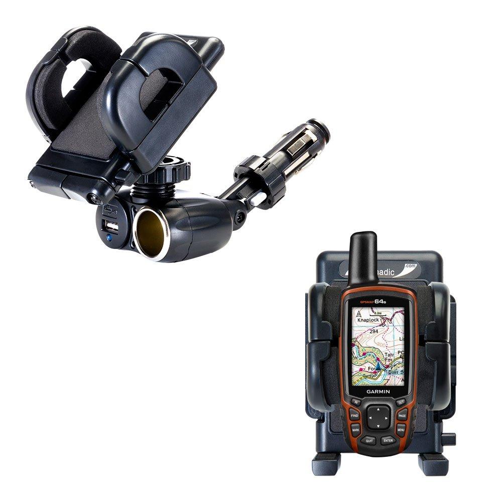 Cigarette Lighter Mount Holder Compatible with Garmin GPSMAP 64 / 64s / 64st 12V Receptacle Mount Includes USB Port