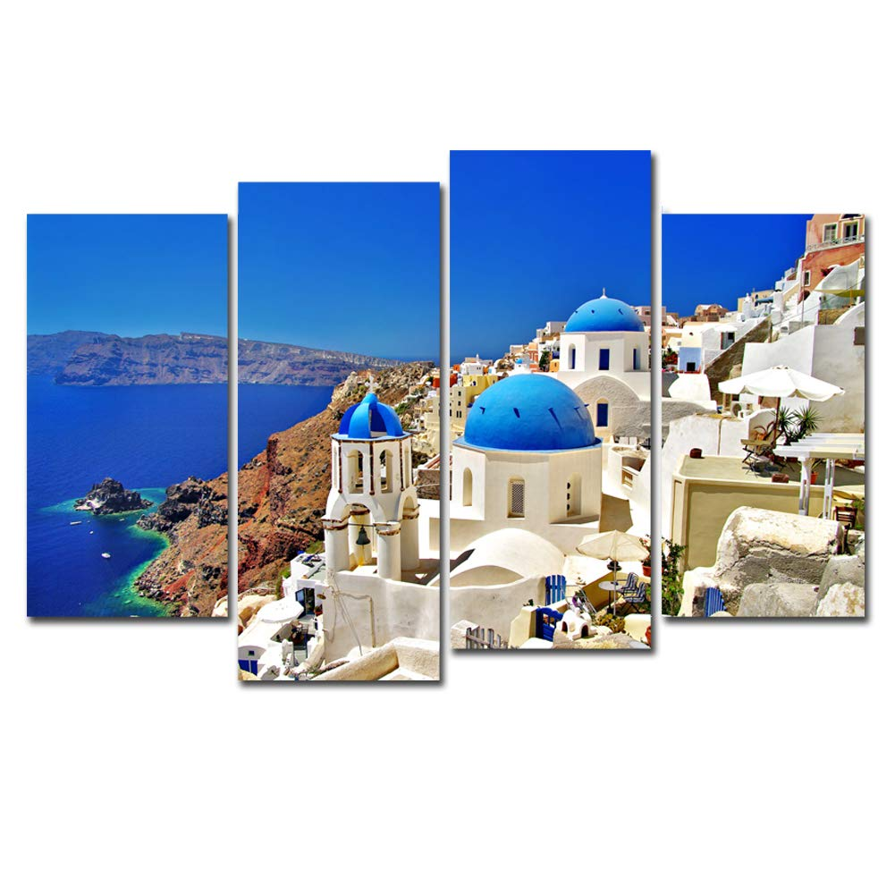 4 Panels Canvas Painting Wall Art Greece Aegean Sea...