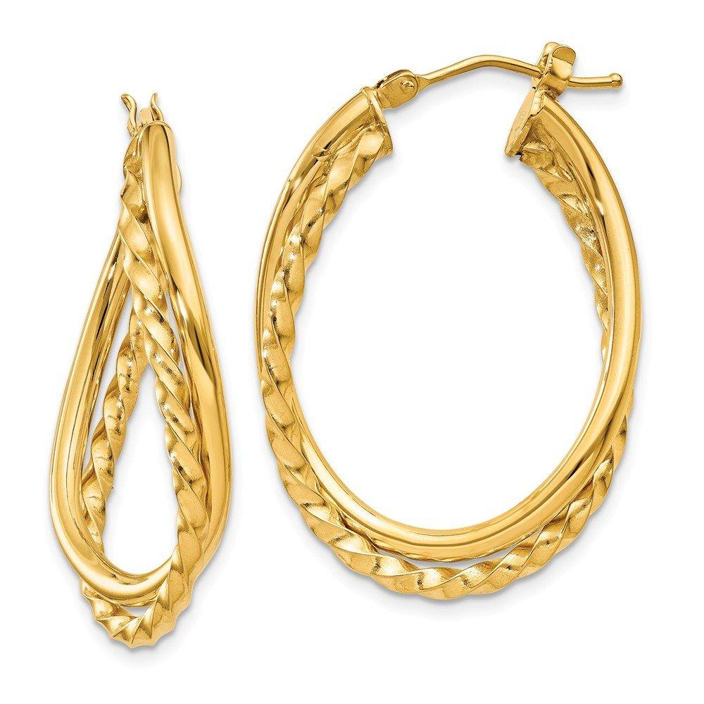 Mia Diamonds 14k White Gold Textured Post Hoop Earring