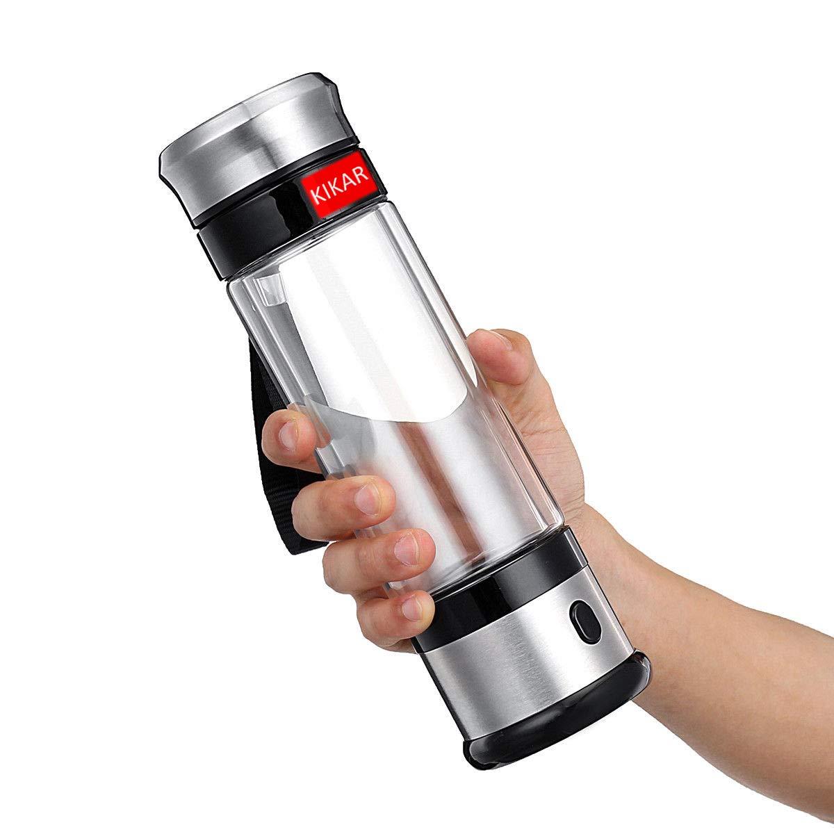 KIKAR 400ml Portable Ionized Water Generator Glass Bottle Anti Aging Antioxidant Hydrogen Water Maker