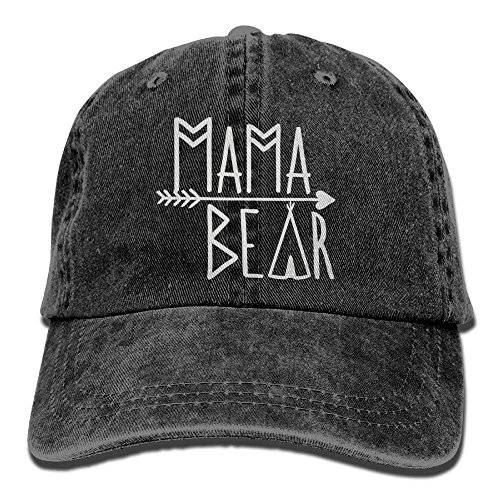 NVJUI JUFOPL Mama Bear Denim Hat Adjustable Unisex Cute Baseball Hats Black ()