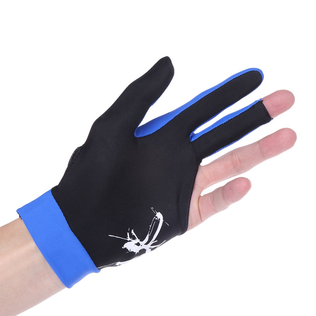 onpiece 3-fingerプールキュービリヤード手袋用手袋ビリヤードShooters Caromプールビリヤードキュースポーツ、ウェアon右または左の手1pcs B07CSQNLYW ダークブルー ダークブルー