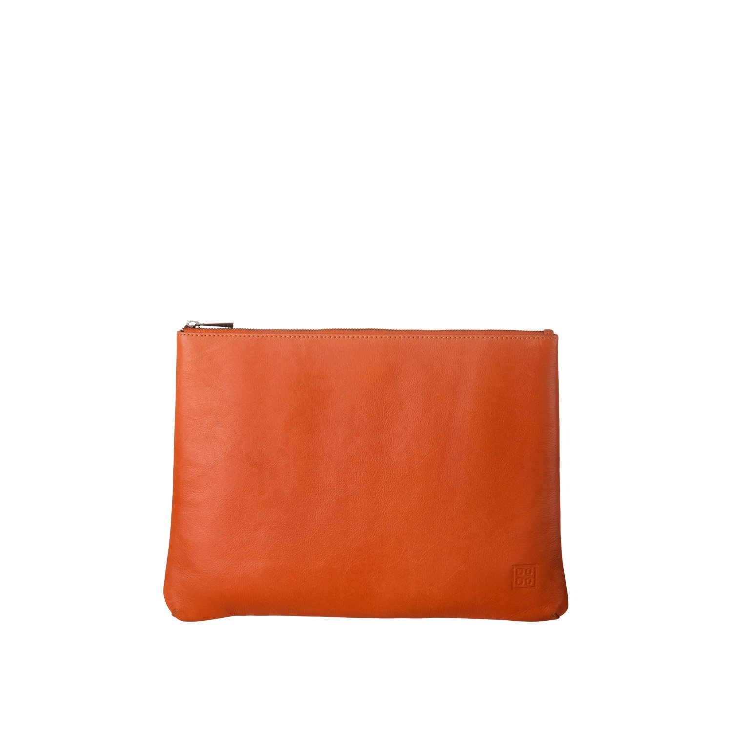 DUDU Clutch Bag Purse with Handle for ladies and men in Real Leather Slim & Large Handbag with Zipper closure - Isa - Orange