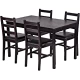 BestMassage Dining Table Set Kitchen Dining Table Set Wood Table Chairs Set Kitchen Table Chairs 4 Person